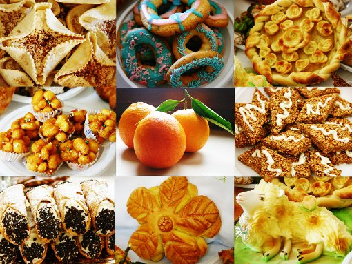 Collage of Festival foods in Sicily