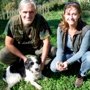 Truffle hunter with dog in Piedmont